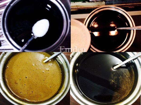 Cho nước cà phê đen vào nồi, thêm đường và 7g bột thạch vào đun nhỏ và hớt thật sạch bọt để thạch cà phê trong.