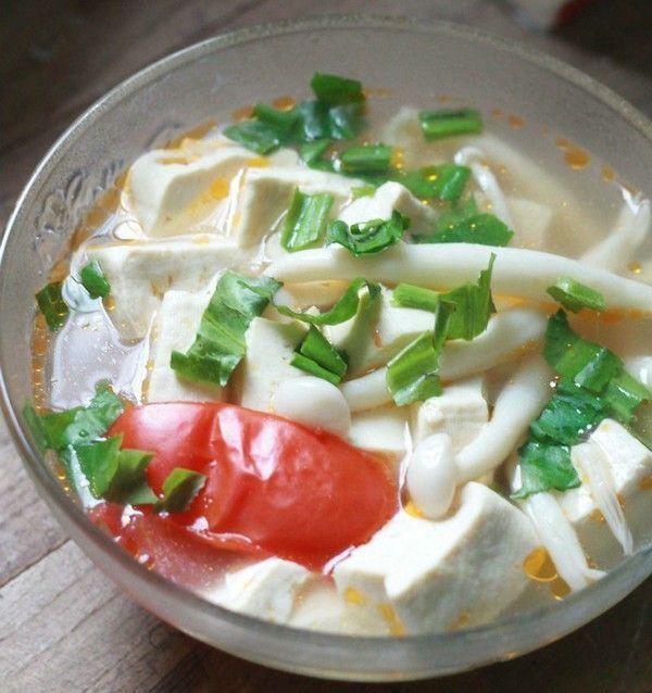 Món chay ngon canh đậu nấu nấm hải sản