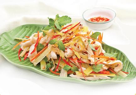 Món chay : Gỏi hoa chuối thịt gà .