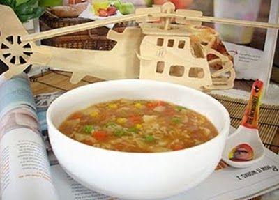 Món chay : Soup Nui Alfabeto .