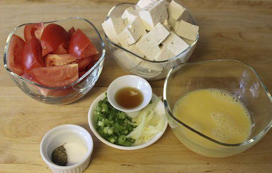 Nguyên liệu làm canh trứng đậu phụ