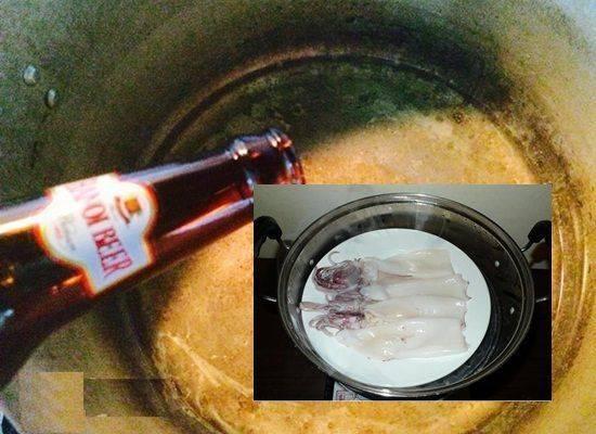 Cách làm mực hấp bia